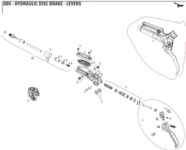 SRAM DB5 LEVER ASSEMBLY Black