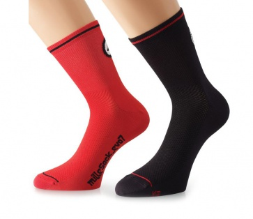 Assos milleSock evo7 Cycling Socks 2 pairs Red Black