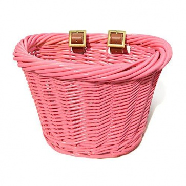 Colorbasket Wicker Jr Strap-on Bike Basket Pink