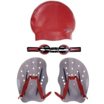 Speedo Performance Training Pack Goggle Cap Paddles