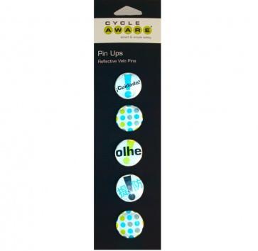 CYCLEAWARE PIN-UPS REFLECTIVE BUTTON SET/5