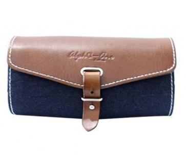 AlphaONe SB-13001 Handlebar Leather Blue Jean Bag