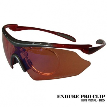 Briko Endure Pro Clip Cycling Goggles Sunglasses GunMetal Red