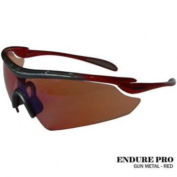 Briko Endure Pro Cycling Goggles Sunglasses Gun Metal Red