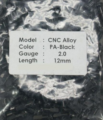 CN spoke Alloy Color Nipples 50pcs 2.0x12mm Black