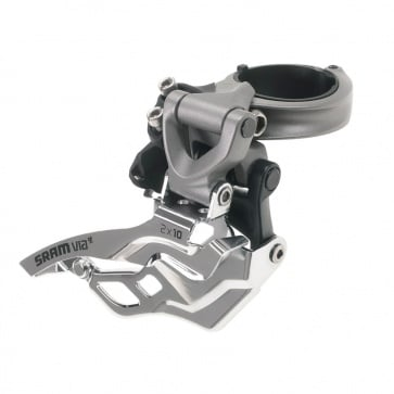 SRAM VIA GT FRONT DERAILLEUR 2x10 HIGH-CLAMP 318/349 GREY TOP PULL
