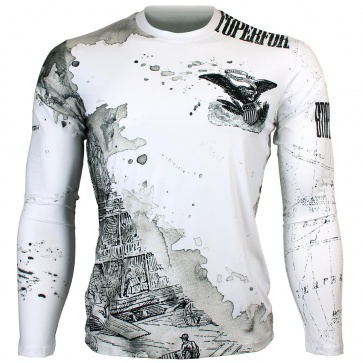 Btoperform Old Wild - White Full Graphic Loose-fit Long Sleeve Crew neck Shirts FR-147W