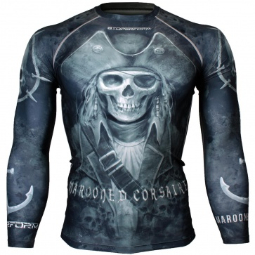 Btoperform Marooned Corsaire Black Full Graphic Compression Long Sleeve Shirts FX-112K