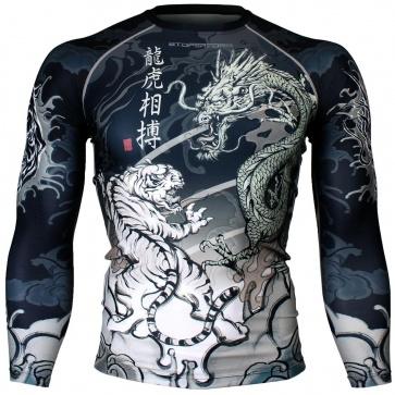 Btoperform Dragon vs Tiger Full Graphic Compression Long Sleeve Shirts FX-136