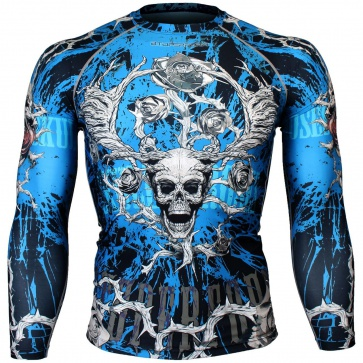 Btoperform Skull Roses Blue Full Graphic Compression Long Sleeve Shirts FX-139B