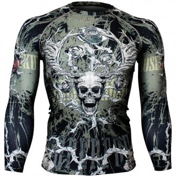 Btoperform Skull Roses Khaki Full Graphic Compression Long Sleeve Shirts FX-139H