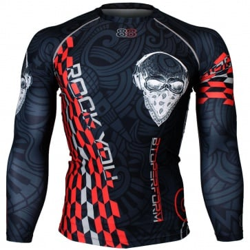 Btoperform Rock You Red Full Graphic Compression Long Sleeve Shirts FX-141R