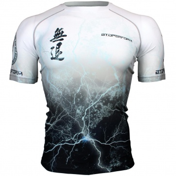 Btoperform No Retreat -Thunder white Full Graphic Compression Short Sleeves Shirts FX-303W
