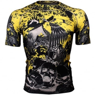 Btoperform Raven Skull Full Graphic Compression Short Sleeves Shirts FX-325