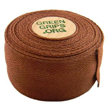 GREEN GRIPS ECO-FRIENDLY BAR TAPE WITH 2 WOODEN CORK END PLUGS COCOA BROWN