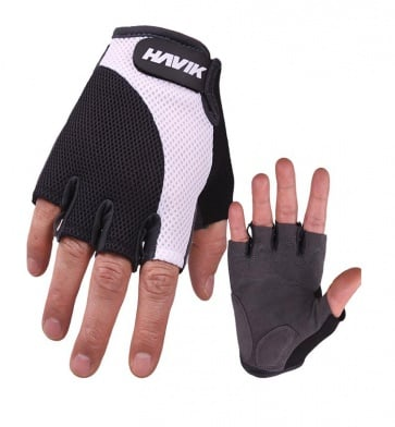 Havik 532 Meshfull Half Finger Gloves Sponge Pads White Black