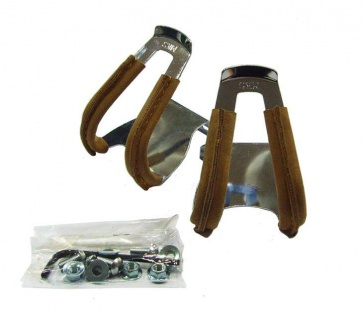 MKS Steel Half Toe Grip Leather Bicycle Pedals