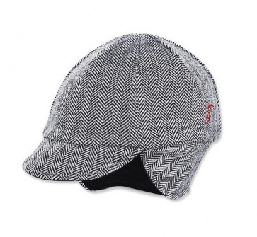 Pace Reversible Wool Hat Herringbone Black