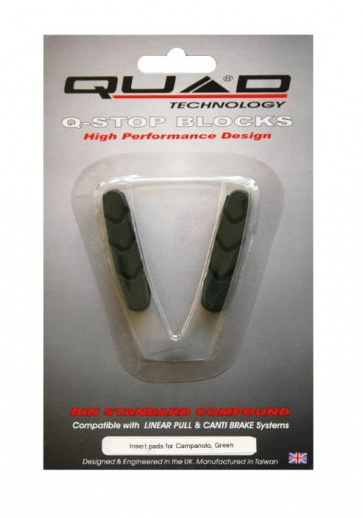 Quad Campagnolo V brake Shoes Pads Green