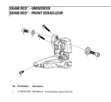 Sram Front Derailleur Spare Part Kit Red Black