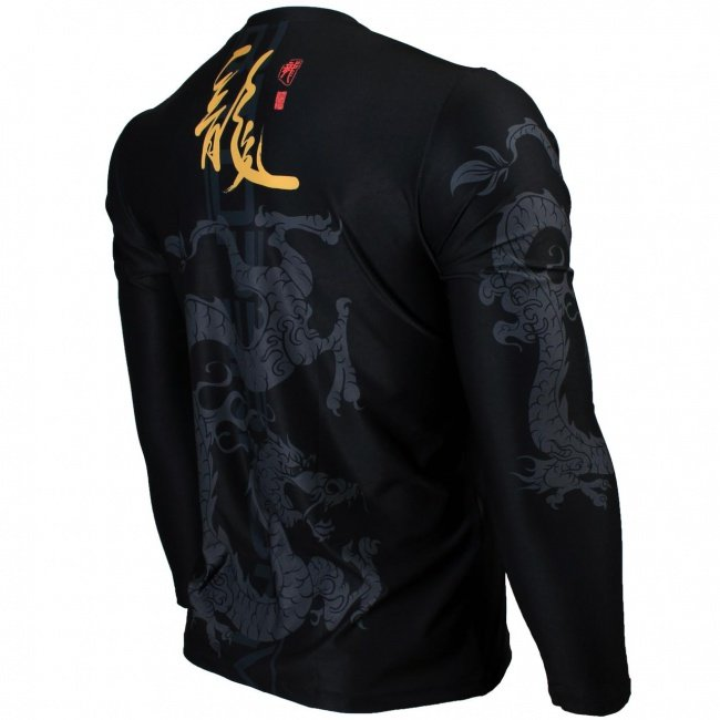 b93c99f63749 Btoperform Golden Dragon Full Graphic Loose-fit Long Sleeve Crew neck  Shirts FR-164