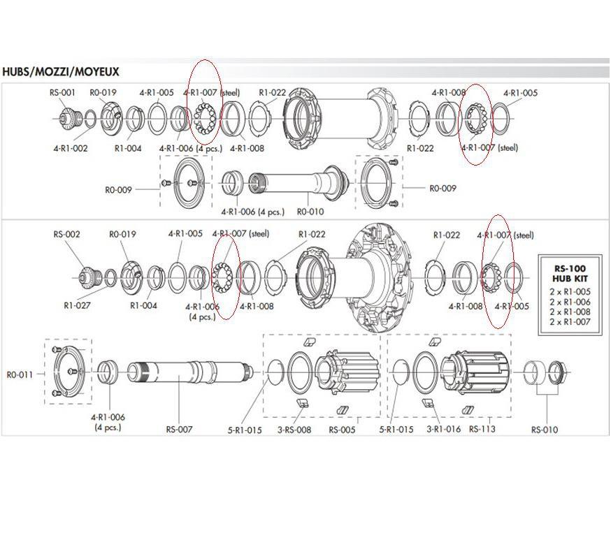 Ceramic Bearing Ball Kit 4-R1-007 for Fulcrum Racing Zero,1,3,Speed //XLR//Light