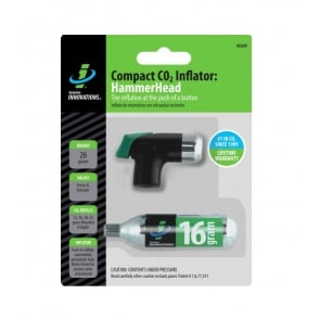 Genuine Innovations HammerHead Bike Tire CO2 Compact Inflator with 16g Cartridge