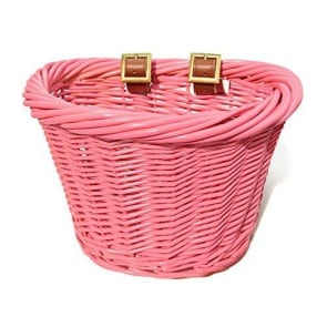 Colorbasket Wicker Jr Strap-on Bike Basket Pink