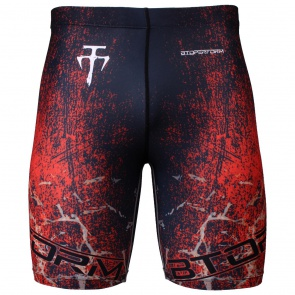 Btoperform Grunge - Red Full Graphic Compression Shorts FY-307R