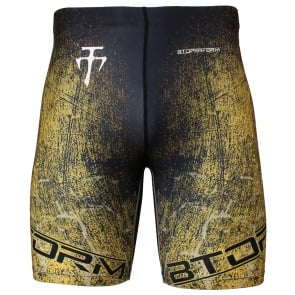 Btoperform Grunge - Yellow Full Graphic Compression Shorts FY-307Y