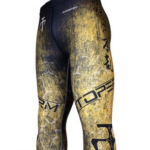Btoperform Grunge Yellow FY-107Y Compression Leggings Bottom MMA Tights Yoga