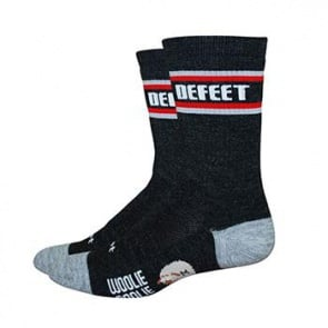 "DEFEET WOOLIE BOOLIE 6"" ALL MOUNTAIN CHARCOAL/RED SOCK"
