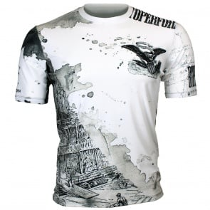 Btoperform Old Wild White Full Graphic Loose-fit Crew neck T-Shirts FR-347W