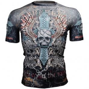 Btoperform Skull Cross Full Graphic Compression Short Sleeves Shirts FX-306