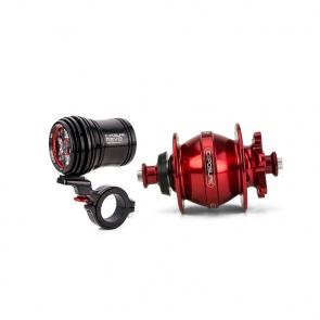 Revo Dynamo Light with 32 Spoke Red Rim Brake Hub