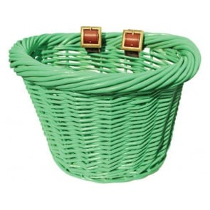 Colorbasket Wicker Jr Strap-on Bike Basket Green