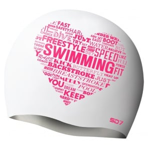 SD Swim Heart White Silicon Swimming Cap