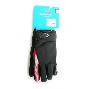 Shimano Winter bicycle cycling gloves all condition black red