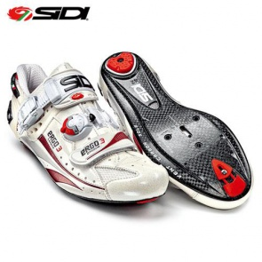 SIDI Ergo3 Carbon Road Bike Shoes White Cream Red Vernice