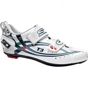 SIDI T-3 Triathlon Cycling Shoes Carbon White Blue