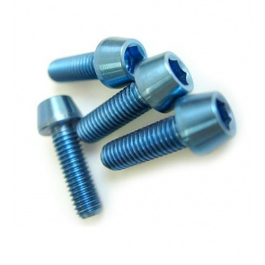 Tiparts Titanium M5x16mm Taper Head Stem Bolts blue