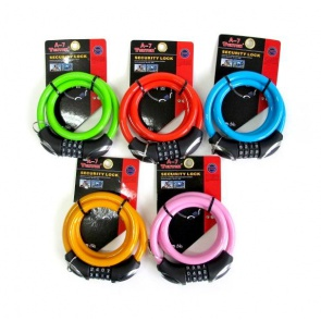 Tonyon A-7 4Digit Bicycle Lock 12x900mm 5colors