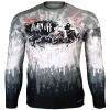 Btoperform Burn off - Wild Full Graphic Loose-fit Long Sleeve Crew neck Shirts FR-158W