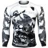 Btoperform Raven Skull - Black Full Graphic Compression Long Sleeve Shirts FX-125K